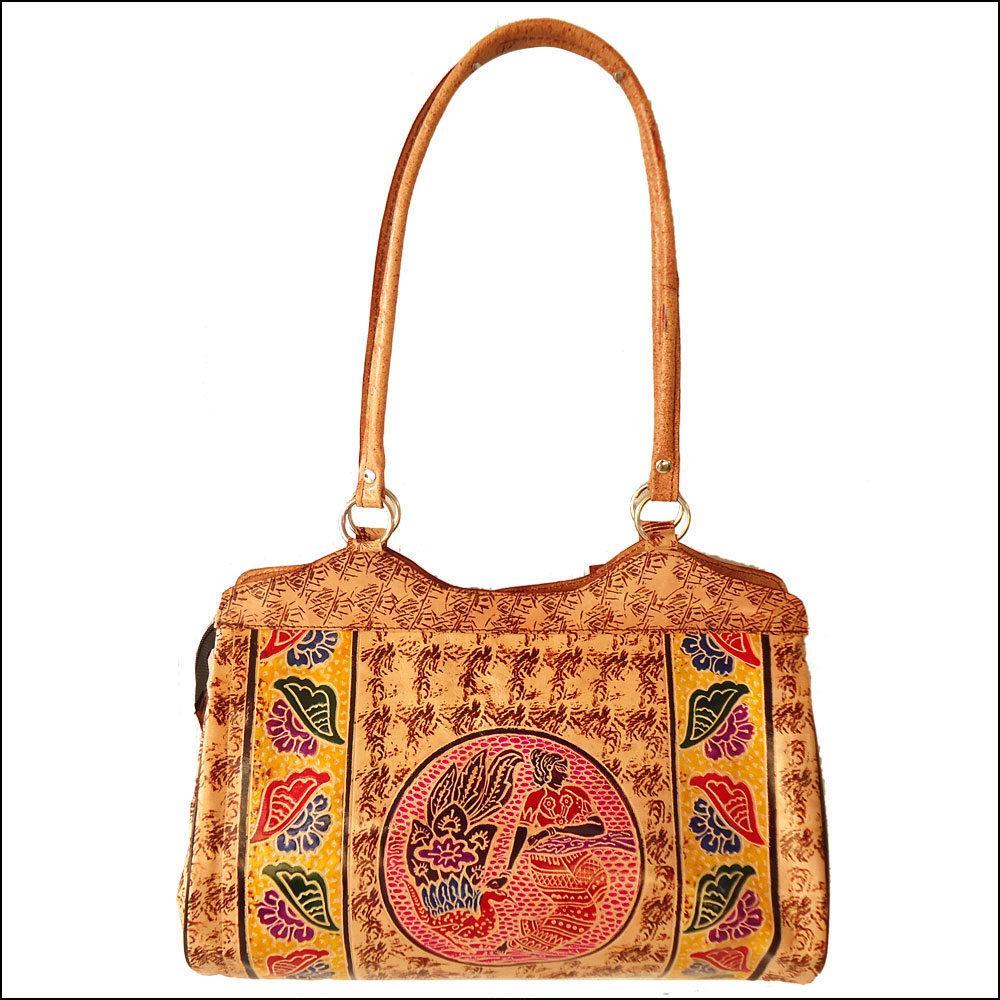 Hand Tooled Indian Genuine Leather Shantiniketan Women's Handbag Shoulder Bag Purse