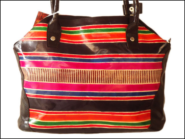 Multi-colored striped real leather Indian Shantiniketan Boho bag