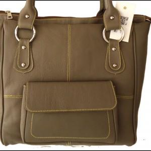 Handmade Large Grey Genuine Leather Women's Handbag Purse Tote Bag Shopping Bag