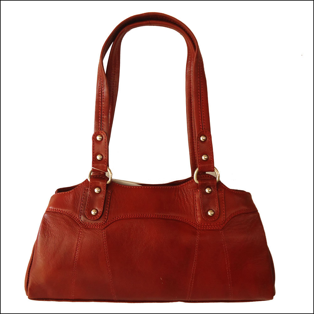 Crimson Red Genuine Leather Purse Shoulder Bag