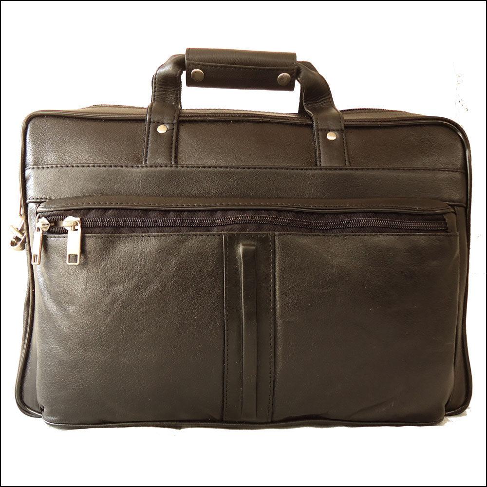 Men's Genuine Leather Black Portfolio Bag Office Bag Laptop Bag Shoulder Bag Handbag