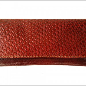 Vintage Style Genuine Leather Hand Tooled Brown Women's Wallet Clutch Purse Bag