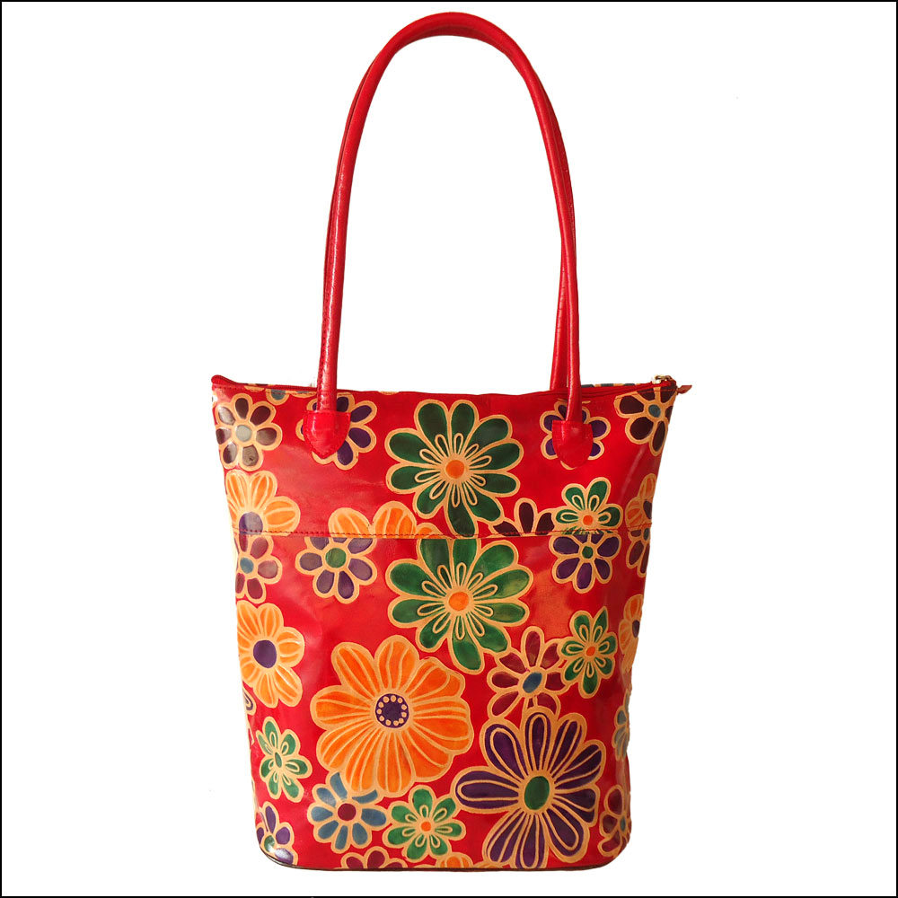 Genuine Leather Red Floral Boho Shantiniketan Tote Bag