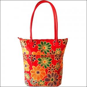 Zint Genuine Leather Shantiniketan Floral Design Shopping Bag