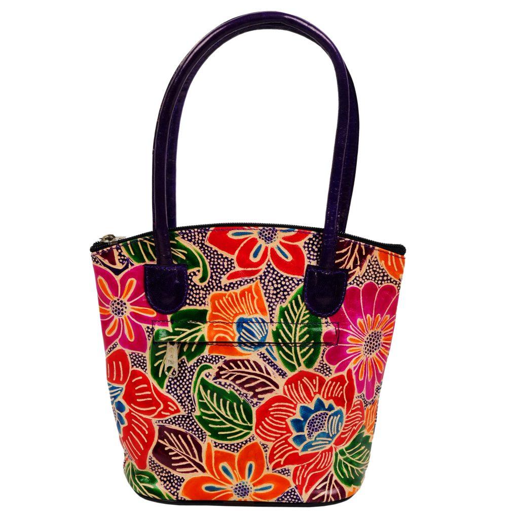 India Handmade Shantiniketan Leather Tote Bag Small Shopper