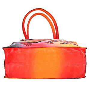 ZINT Hand Painted Genuine Leather Bag with bright, colorful paisley, floral design