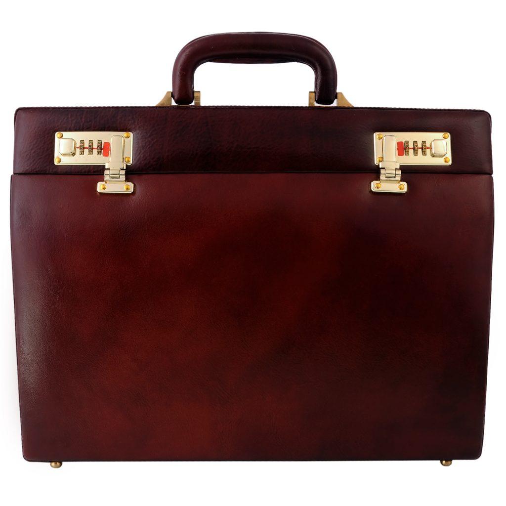 Hard Case Genuine Leather Brown Briefcase
