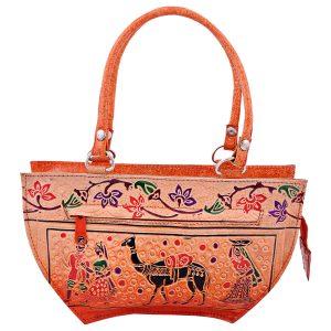Handmade Shantiniketan Leather bag lady with camel design