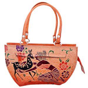 Handmade Shantiniketan Leather bag deer design