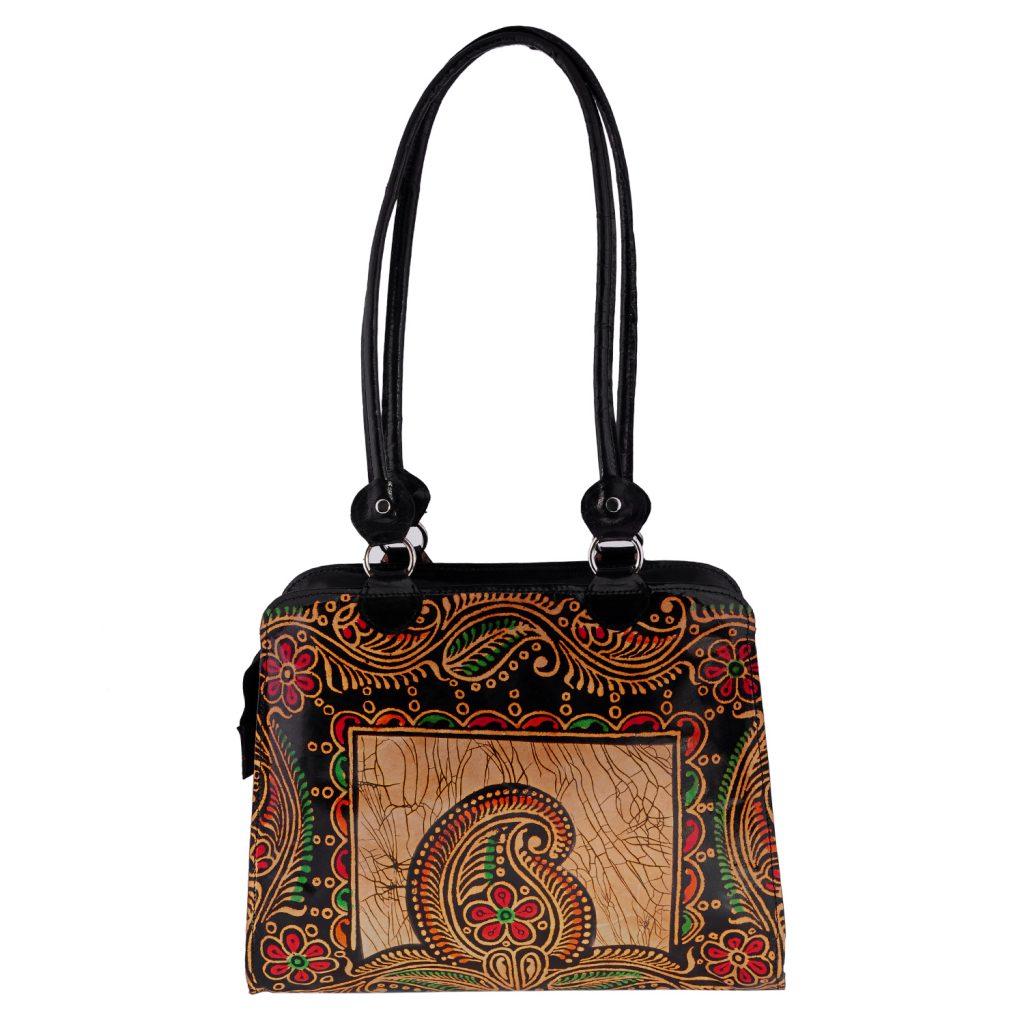 ZINT India Shantiniketan Genuine Leather Batik Design Tote Bag