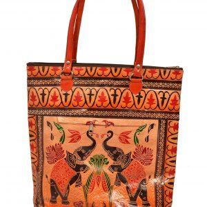 ZINT India Shantiniketan Handmade Genuine Leather Pair of Elephant Design Shopping Bag