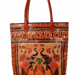 ZINT India Shantiniketan Genuine Leather Pair of Elephant Design Shopping Bag