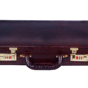 Zint Genuine Leather Vintage Style Hard Briefcase with Combination Locks BrownBriefcase Crocodile Print