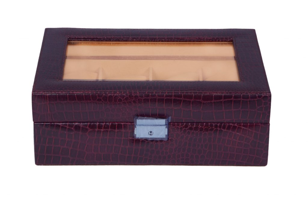 Zint Genuine Leather 8 Slot Crocodile Print Brown Watch case / Bracelet Storage Organizer
