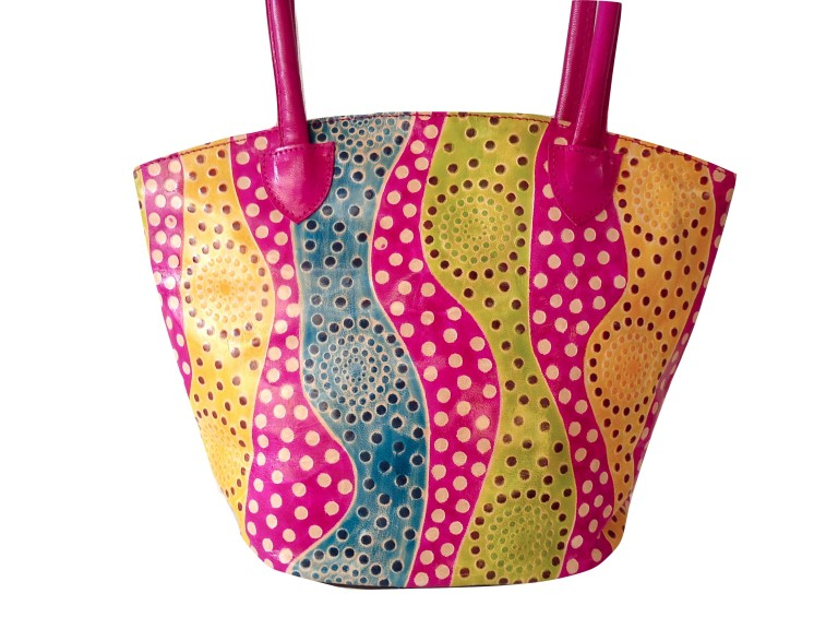 Handcrafted Handtooled Real Leather Shantiniketan Pink Boho Bag