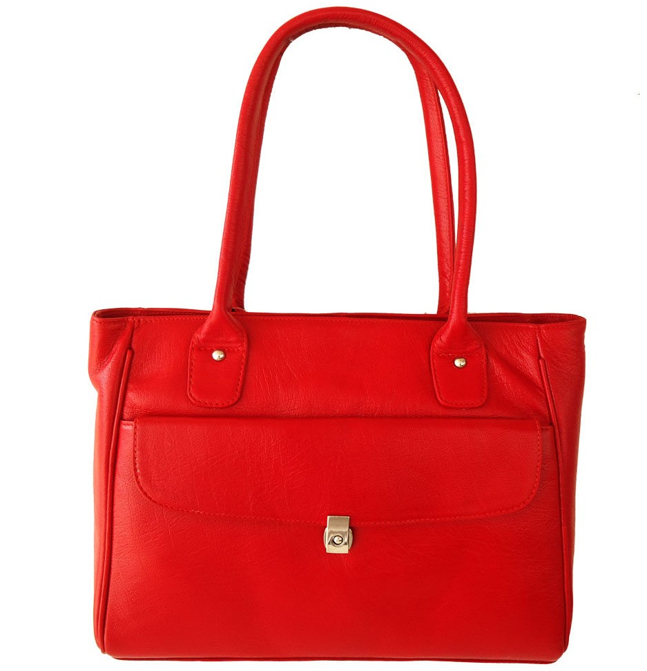 Genuine Leather Red Handmade Shoulder Bag Ladies Purse Women's Handbag Tote Bag