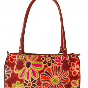 Floral handcrafted handtooled real leather Shantiniketan Boho women's bag