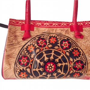 Red Batik Shantiniketan Indian Real Leather Handbag Purse