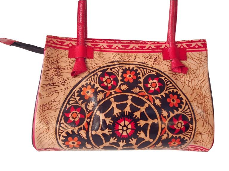Red Batik Shantiniketan Indian Real Leather Handbag Purse