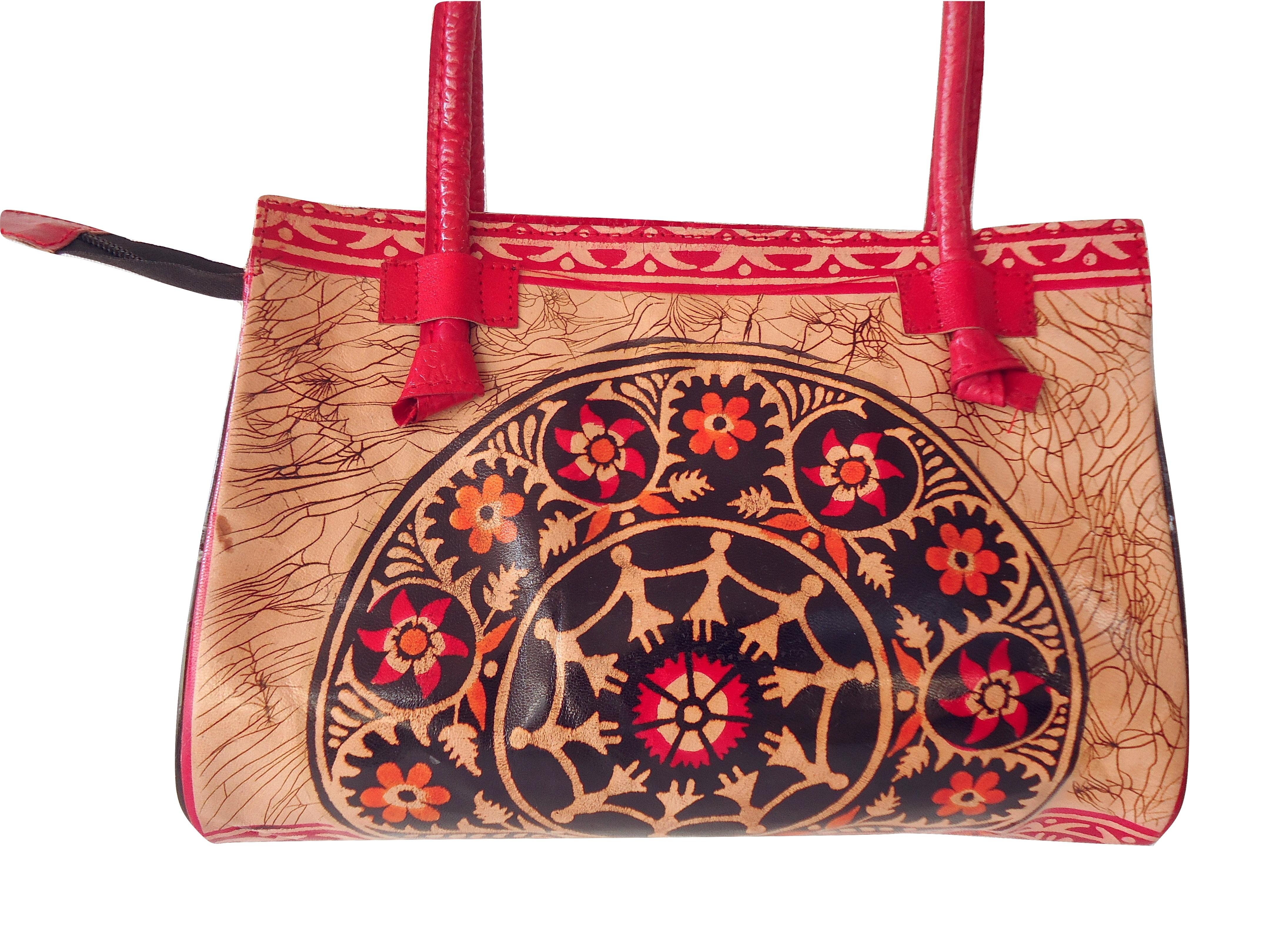dc2eaf9904 Red Batik Shantiniketan Indian Real Leather Handbag Purse