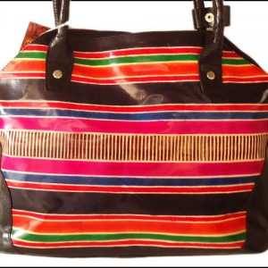 Multi-colored striped real leather Indian Shantiniketan Boho bag