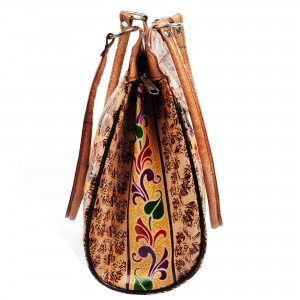 ZINT Indian Shantiniketan Genuine Leather Bag with peacock design