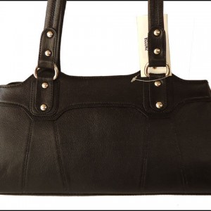 Black Genuine Cow Leather Women's Handbag Shoulder Bag Purse
