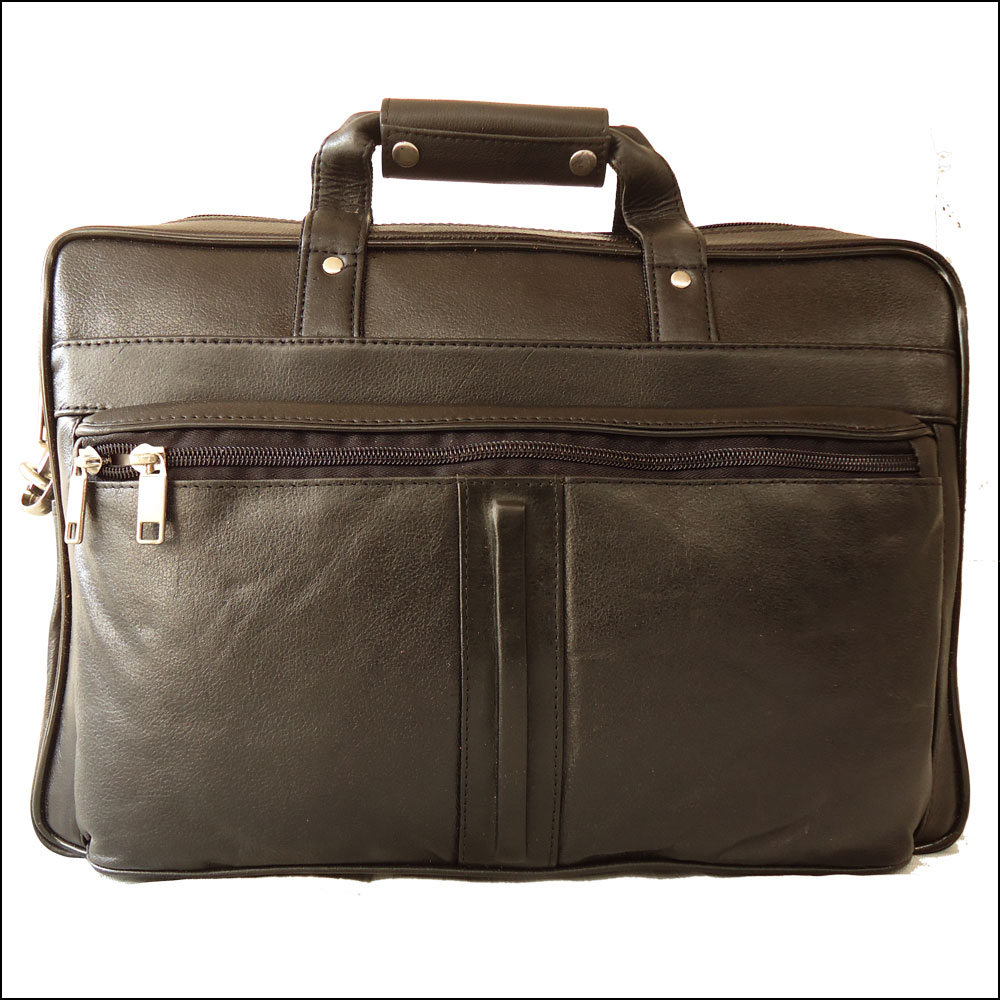 Men's Genuine Leather Black Portfolio Bag Office Bag Laptop Bag Shoulder Bag Handbag