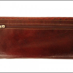 Hand Tooled Genuine Leather Shantiniketan Vintage Style Brown Women's Clutch Bag Wallet