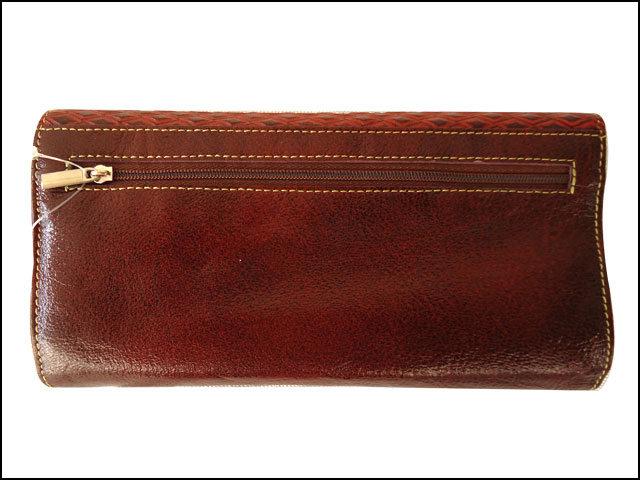 Hand Tooled Genuine Leather Shantiniketan Vintage Style Brown Women's Clutch Bag Wallet