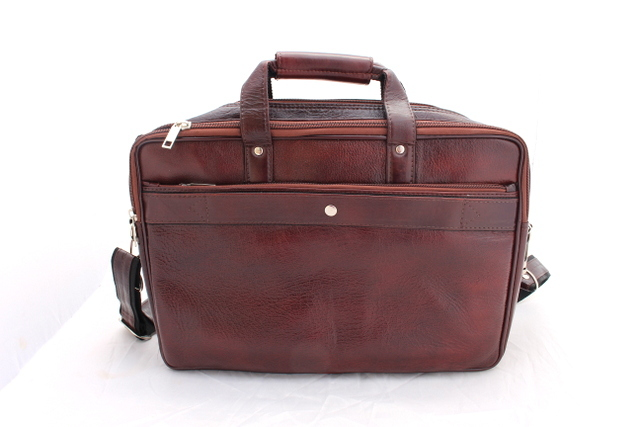 ReaL Leather Brown Portfolio Messenger Laptop Briefcase Bag