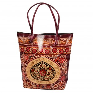 Batik Indian Shantiniketan leather Tote Bag