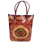 Batik Indian Shantiniketan leather Tote Bag