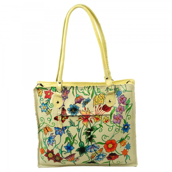 Hand painted floral leather bag
