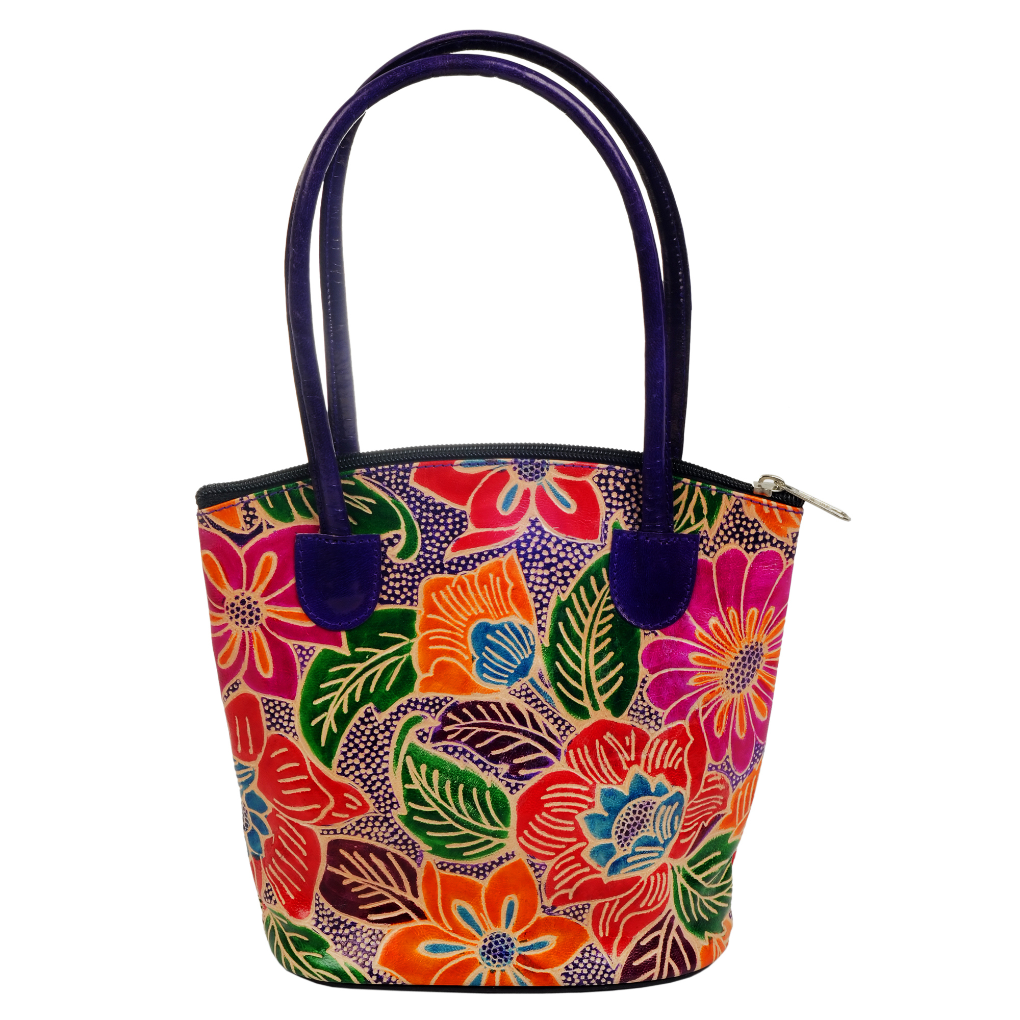 India Shantiniketan Tooled Floral Small Tote Bag