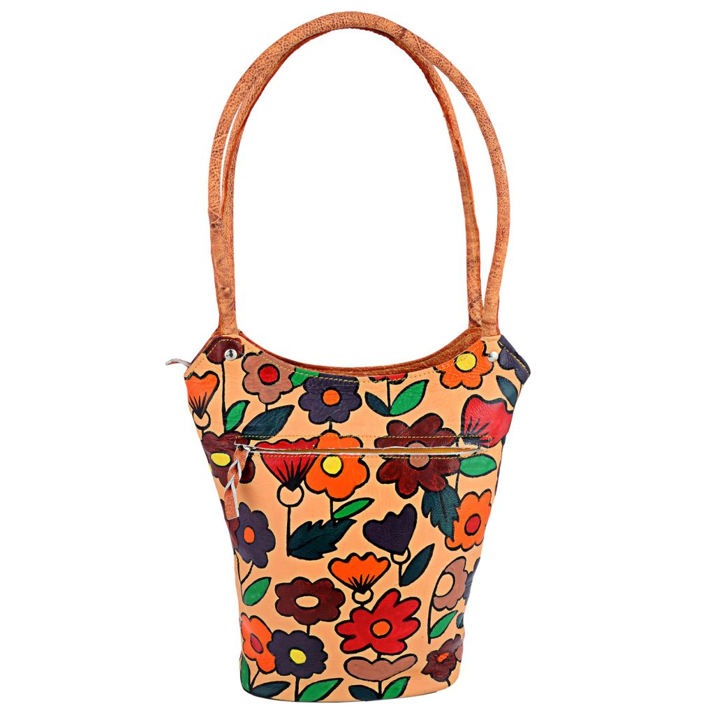 ZINT Hand Painted Leather Brown Shoulder Bag with Multi-Colored Flowers