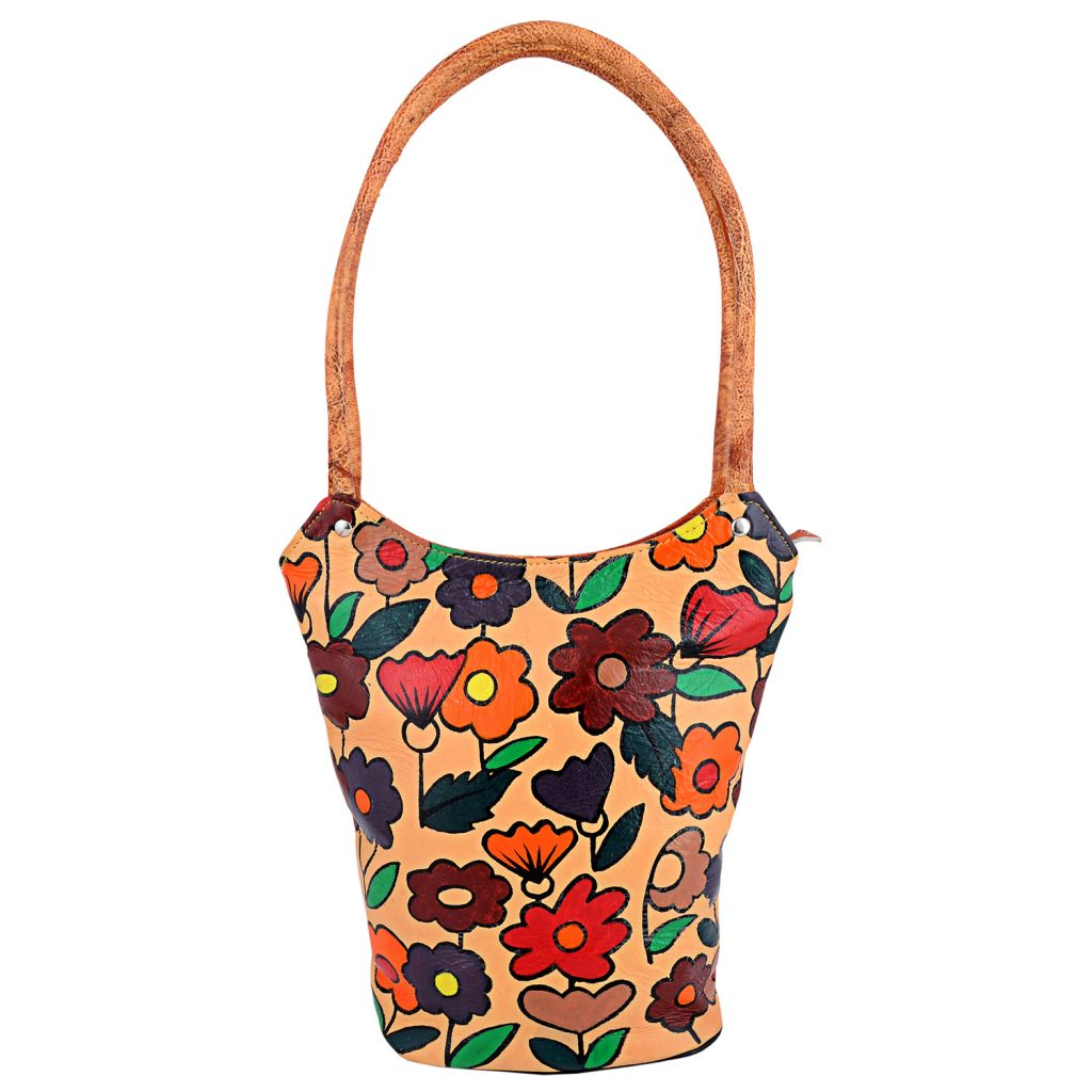 This gorgeous, hand painted Purse is made from 100% genuine cowhide leather. It has a vibrant, multi-colored floral pattern on both sides.