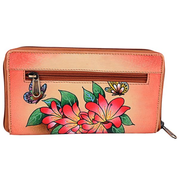 ZINT Hand Painted Leather Women's Wallet with flowers and butterflies