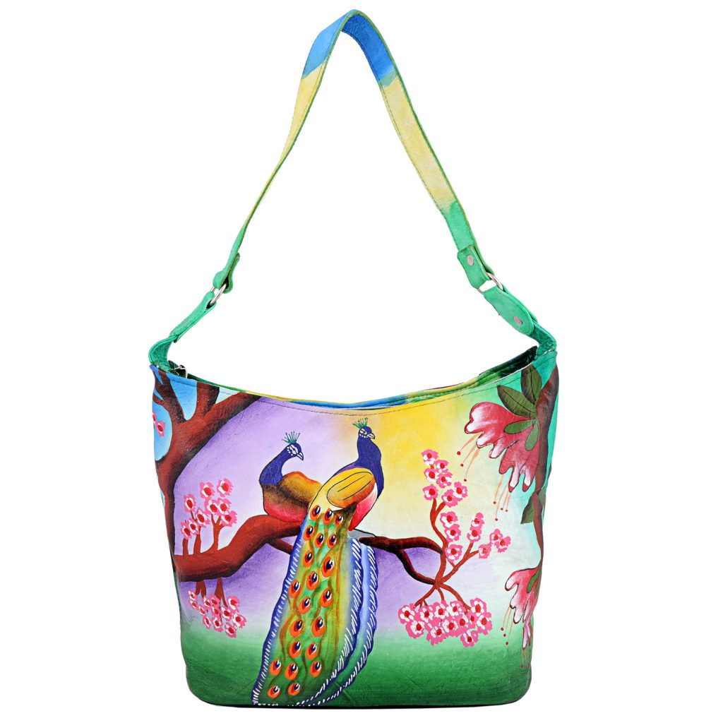 Hand Painted Leather Hobo Bag with Peacock design