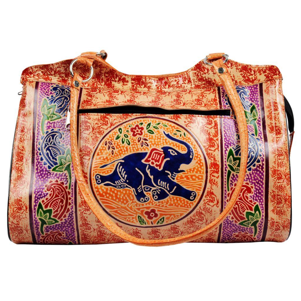 Handmade Shantiniketan Leather bag elephant design