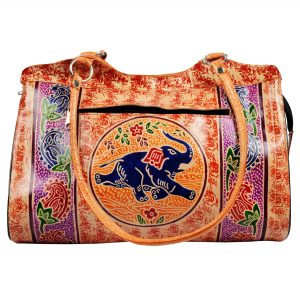 Handmade Shantiniketan Leather bag elephant design