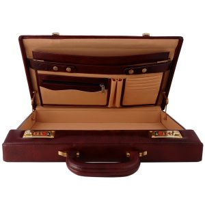 ZINT Hard Case Genuine Leather Brown Briefcase Slim Design Vintage Style