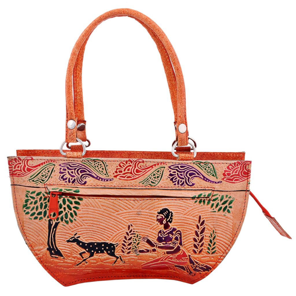 Handmade Shantiniketan Leather bag lady with running deer design