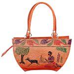 Handmade Shantiniketan Leather bag lady with running deer design