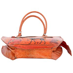 Handmade Shantiniketan Leather bag camel design