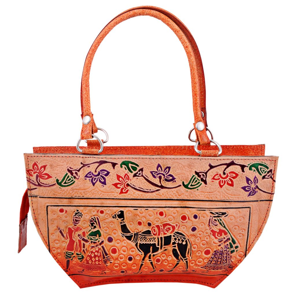 Handmade Shantiniketan Leather bag lady with camel design