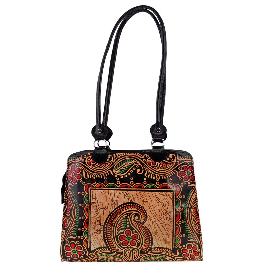 ZINT India Shantiniketan Genuine Leather Batik Design Tote Bag