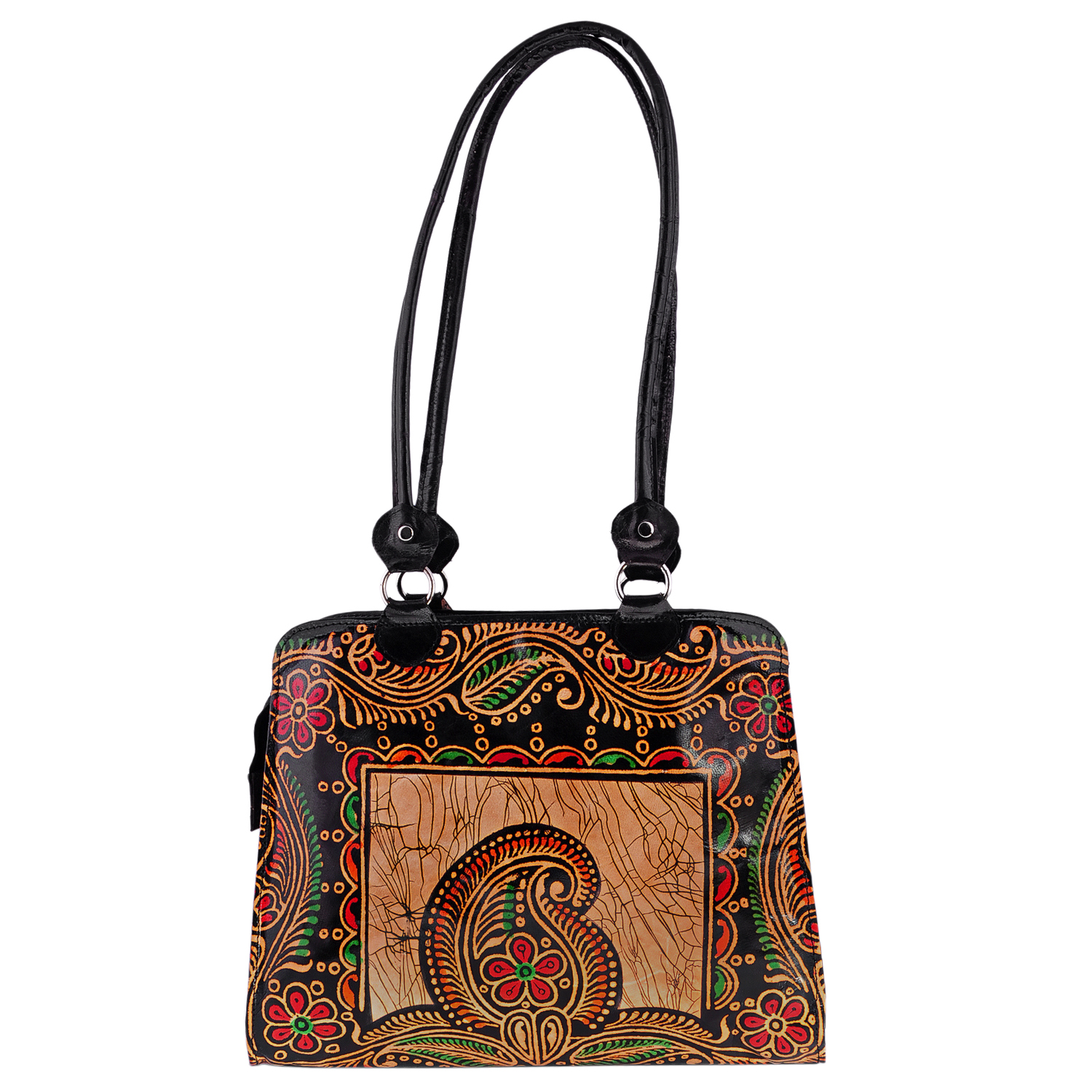 Zint Genuine Leather Tote Bag Shantiniketan Batik Design