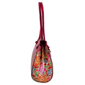 ZINT India Shantiniketan Genuine Leather Floral Design Tote Bag