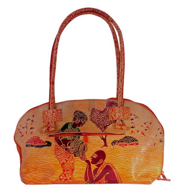 ZINT India Shantiniketan Genuine Leather Human Design Tote Bag